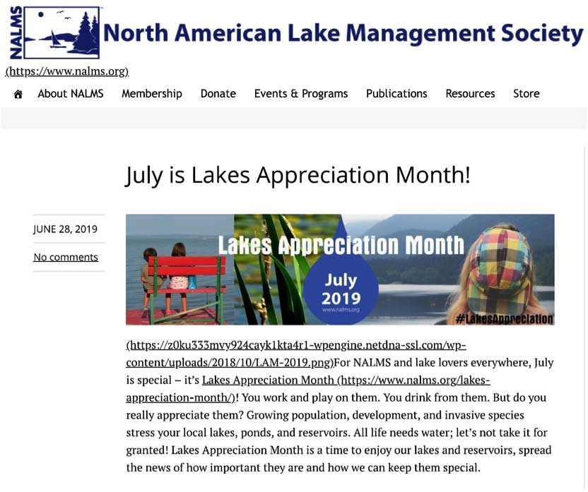 july is lake appreciation month