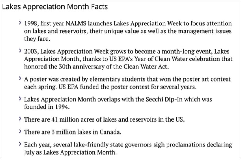 Lake Appreciation Month Facts